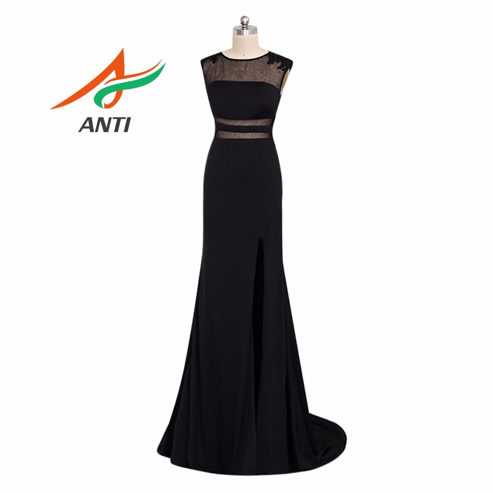 Celebrity Wedding Outfits 2019: ANTI 2019 Black Evening Dress Long Appliques Backless