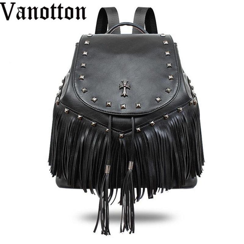 2017 New Tide Gothic Female Backpack PU Leather Fashion Shoulder Cover Bag Lady Rivet Tassel Backpack Travel Bag