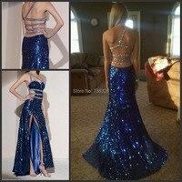 2015 Royal Blue Long Evening Dress Mermaid Sequined Vestido De Renda Party Prom Celebrity Dresses Gowns Custom Make Vestidos
