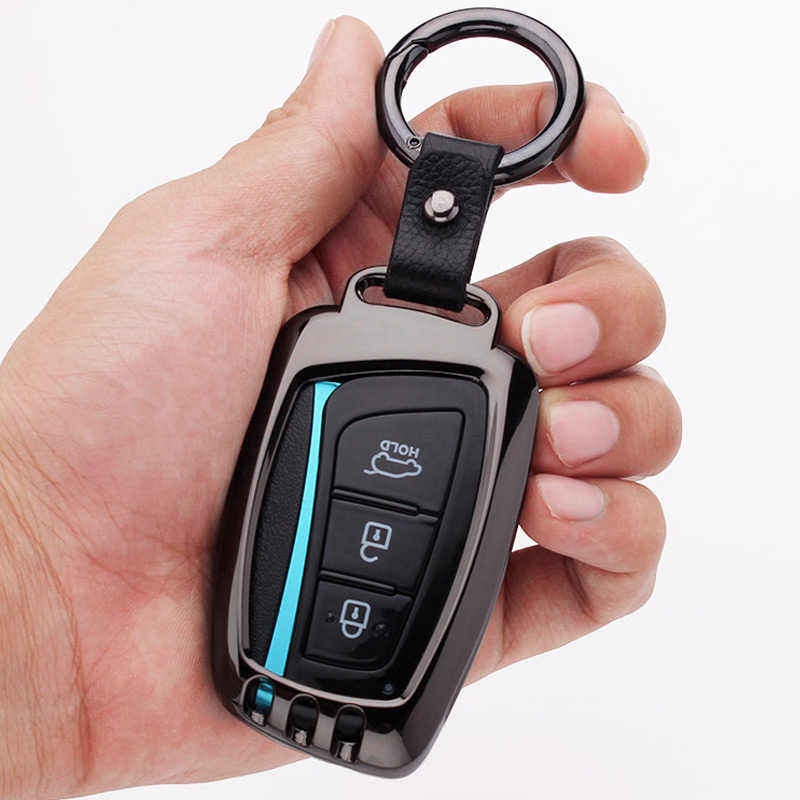 Zinc Alloy Car Key Fob Cover Case Chain Key For Hyundai Grand Santa Fe IX45 2013 2014 2015 2016 Key Case Remote Accessories