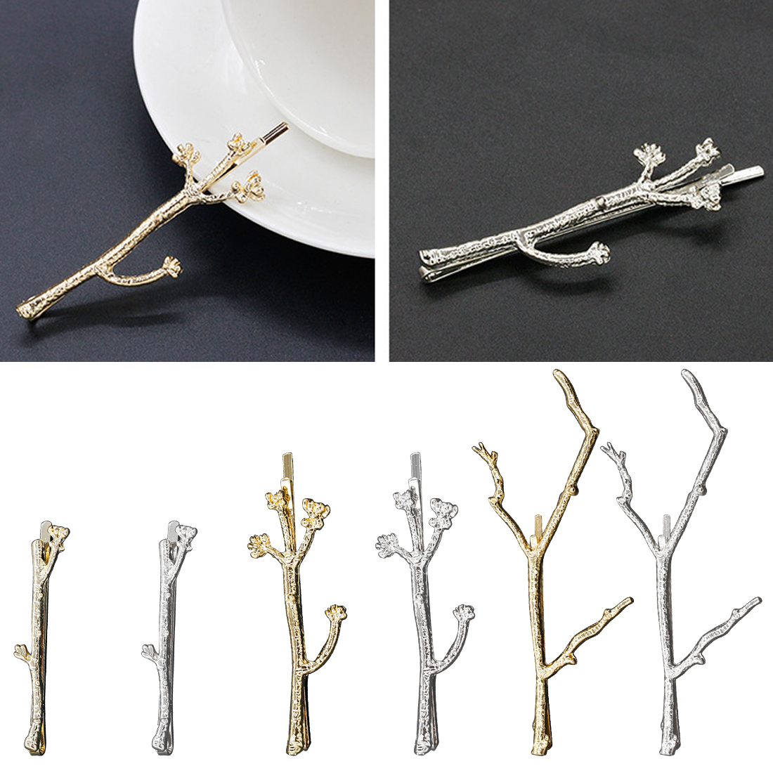 1PC Branch Leaves Hairpin Fashion Metal Antler Branch Alloy Barrettes Bobby Hair Clips Pin Styling Tool Women Girls Gold Silve in Women 39 s Hair Accessories from Apparel Accessories
