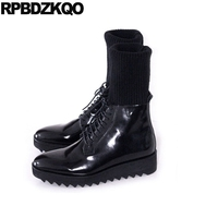 Shoes European Ankle Plus Size Sock Mens Black Patent Leather Boots Thick Soled Runway High Sole Booties Mid Calf Wedge Platform