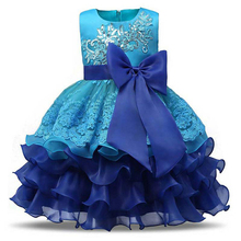 CAILENI Girls Dress Elegant Children Party Frocks Sequined Lace Baby Christening Dresses Kids Evening Clothing for Girl