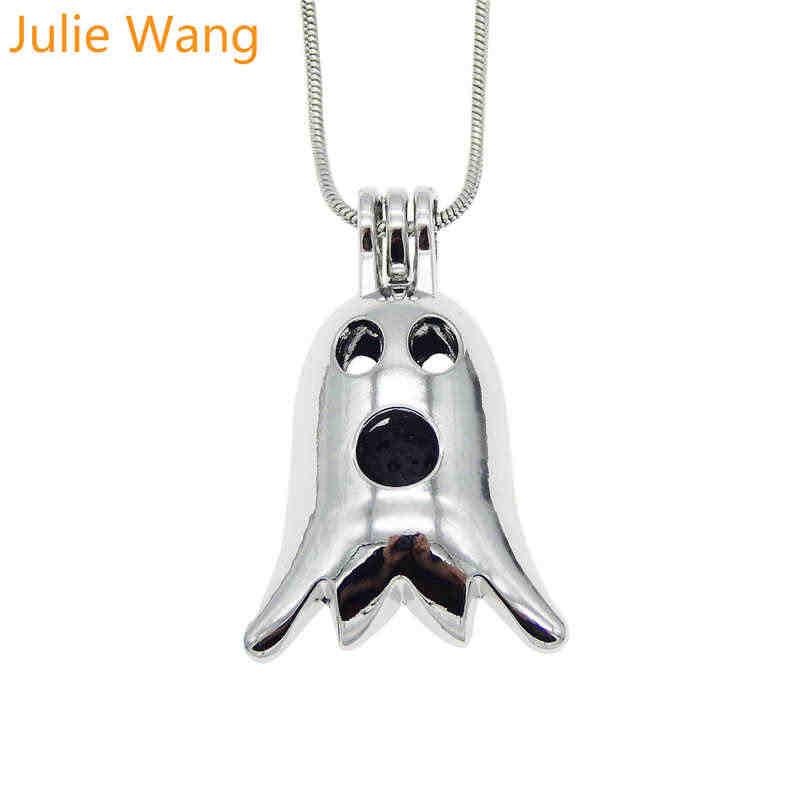 Julie Wang 9 ชิ้นโลหะผสมสีขาว K ฮาโลวีนฟักทองกะโหลกศีรษะลูกปัดมุก Cage Essential Oil Diffuser สร้อยคอจี้สร้อยคอเครื่องประดับ