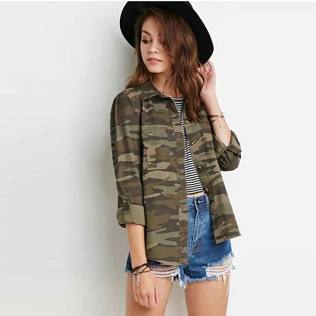 2016 Fashion Long Sleeve Women Camouflage Coat Slim Women s Green Military  Jackets Ladies Blouse Streetwear Tops HD1865 2441a8ec08b3