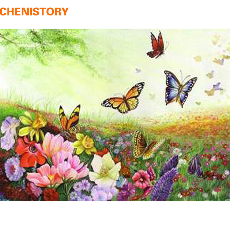 Chenistory Colorful Flower And Butterfly Diy Painting By