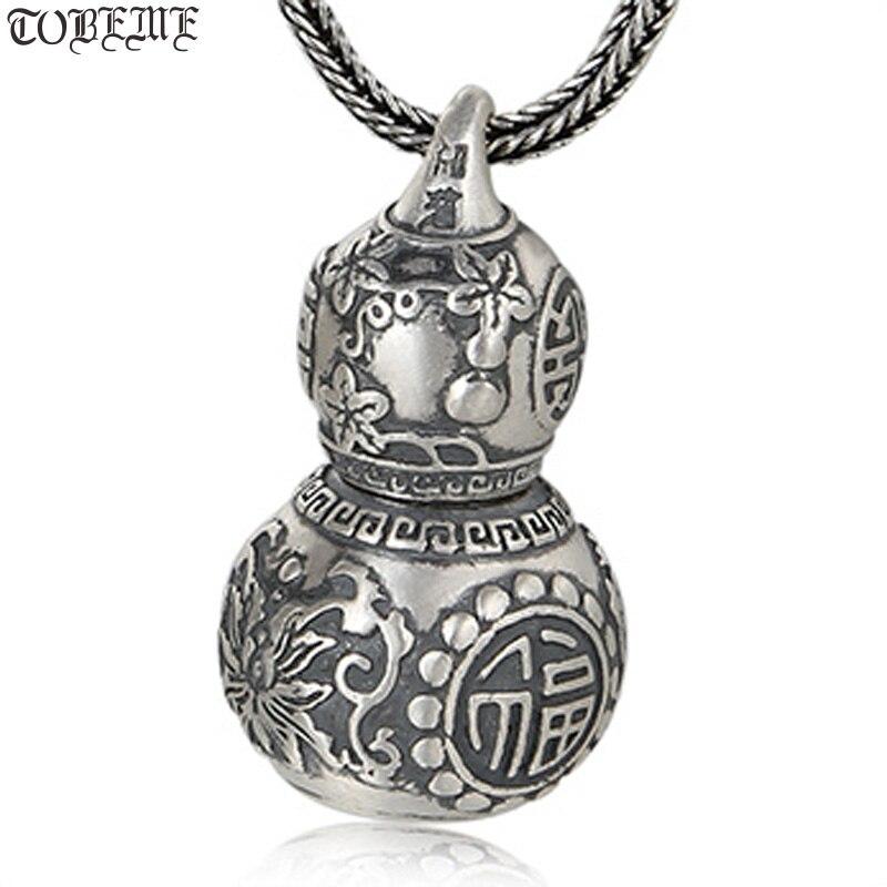 100% 999 argent gourde pendentif collier chanceux symbole amulette collier bonne chance gourde boîte pendentif collier