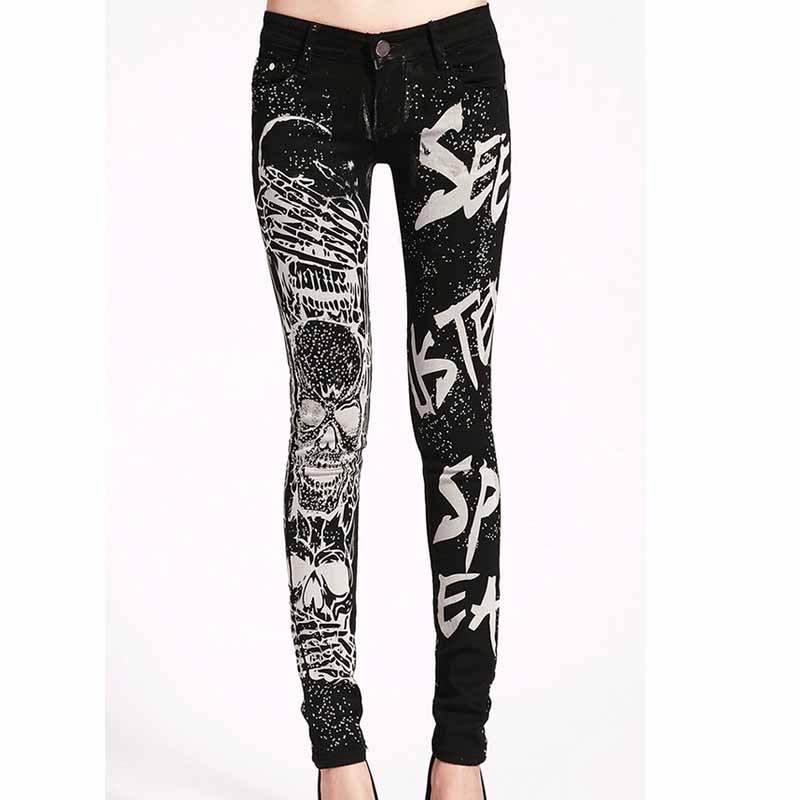 Elastic   jeans   woman Casual Black Pencil   jean   pants Girl Hot drilling Skulls   jeans   Women Skinny Long Slim Capris Female 26-31