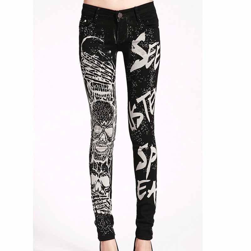 Elastic jeans woman Casual Black Pencil jean pants Girl Hot drilling Skulls jeans Women Skinny Long