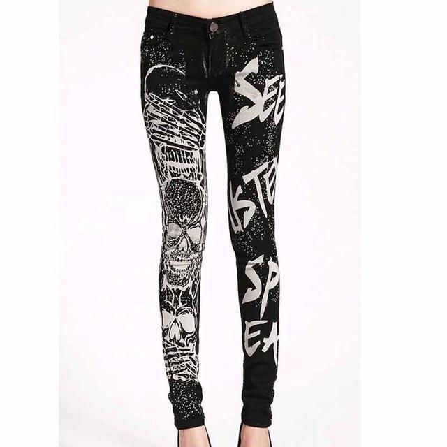 4815240047 Pantalones vaqueros elásticos mujer Casual negro lápiz jean pantalones  chica Hot drilling Skulls jeans mujeres Skinny