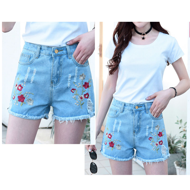 2017 Hot Sale Women Shorts High Waist Embroidery Hole Burrs Ripped Denim Shorts Loose Casual Straight Short Jeans Ladies Shorts