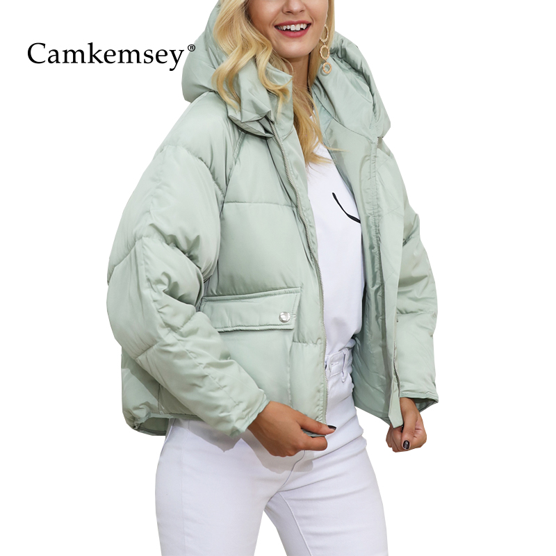 CamKemsey Winter Coat Women Casual Pockets Hooded Loose Down Jacket Female Short Slim Cotton Padded Warm Thicken   Parkas