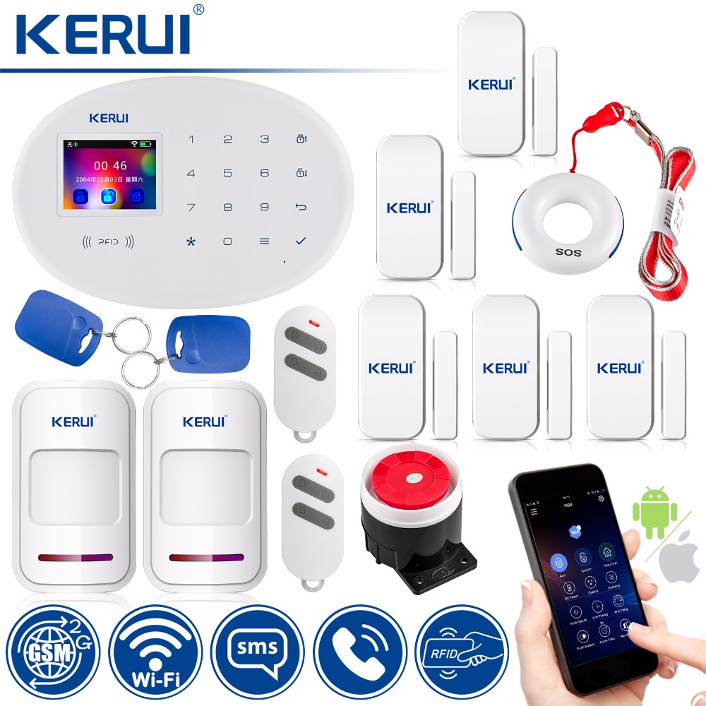KERUI 433MHz Wireless RFID Card APP Remote Control Burglar Alarm W20 WIFI GSM Smart Home Motion Detector Security Alarm System