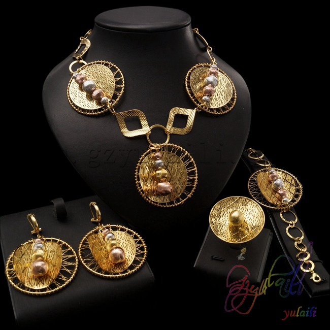 dubai 22k gold color necklace earrings ring and bracelet jewelry sets african costume jewellery set plated gold jewelry sets four leaf clover necklace jewellery set best gifts for friends and lovers