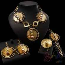 dubai 22k gold color necklace earrings ring and bracelet jewelry sets african costume jewellery set