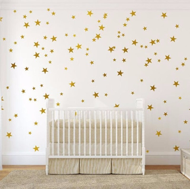 DIY 39pcs Little Gold Star Stickers Home Decor Living Room Decorative Wall Stickers Vinyl Stickers For KidsNursery  Rooms Y-181