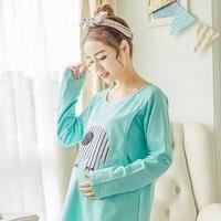 Women Clothes Set Pregnant Pajamas Set Maternity Sleepwear Soft Cotton Long Sleeve Tops&Pants Maternity Pajamas 2017 Mouse