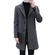 Odzież młodzieżowa moda męska wełniany płaszcz jesień zima nowy duży rozmiar 4XL płaszcze męskie w dużych długi płaszcz mężczyźni Korea wiatrówka 1285 tanie tanio Wełna mieszanki Na co dzień Pełna Poliester Skręcić w dół kołnierz Stałe Pojedyncze piersi STANDARD Kieszenie