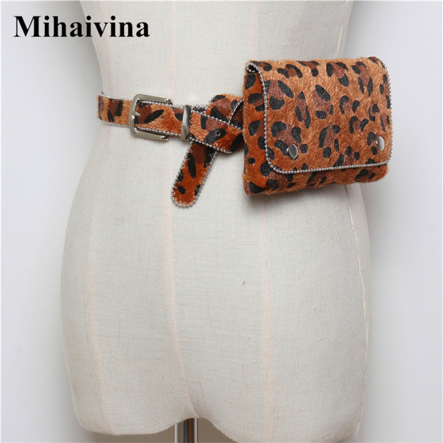 Mihaivina Leopard Women Waist Bag Fashion Waist Pack Belt Bags Vintage Detachable Waist Belt Faux Fur Phone Bag Fit iphoneXS.