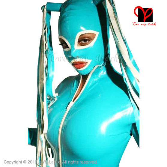Jade Green Sexy Latex Hoods Pigtail Pig Tail Rubber Masks -8286