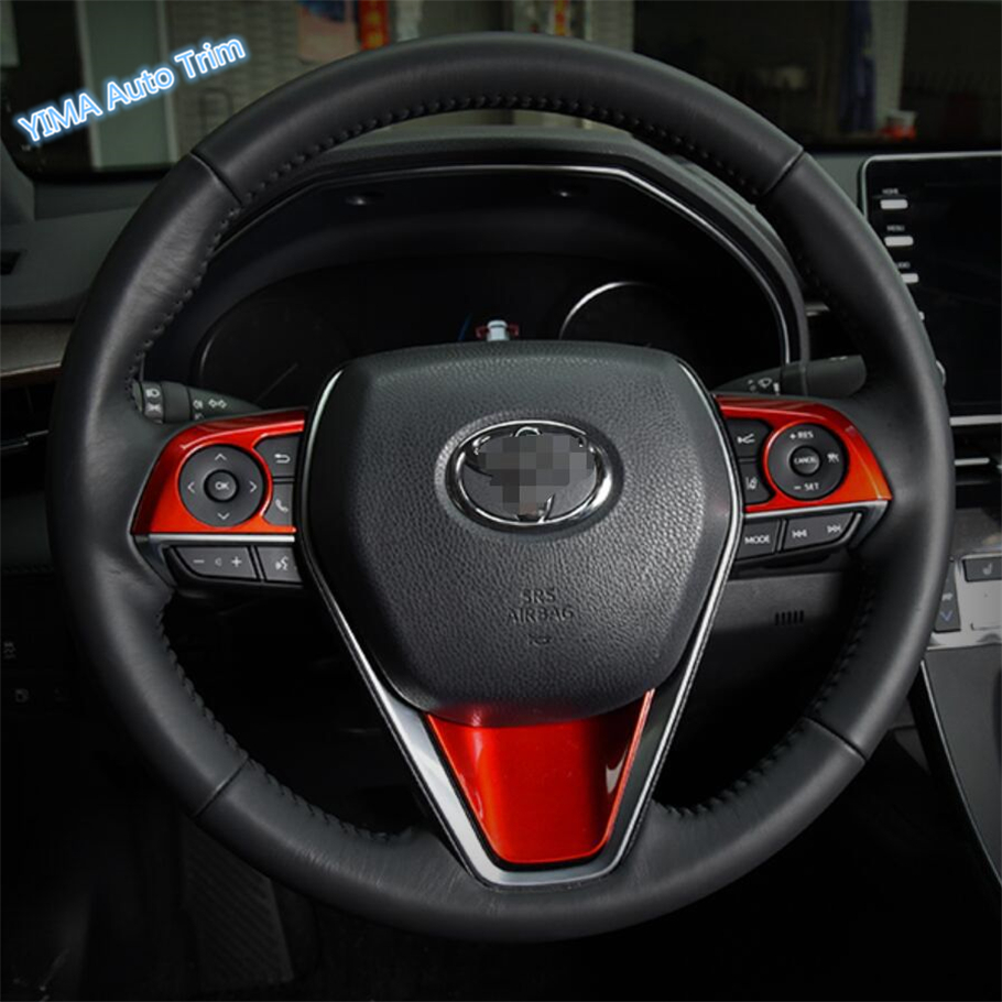 ABS Red Interior Steering Wheel Decoration Cover Trim 3PCS For 2018 TOYOTA CAMRY