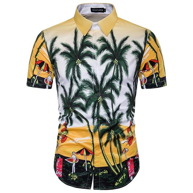 2017 New Men 3D Print Design Palm Tree Casual Short Sleeve Hawaiian Beach Shirt Men Casual Cotton Printing Slim Shirt Clothing