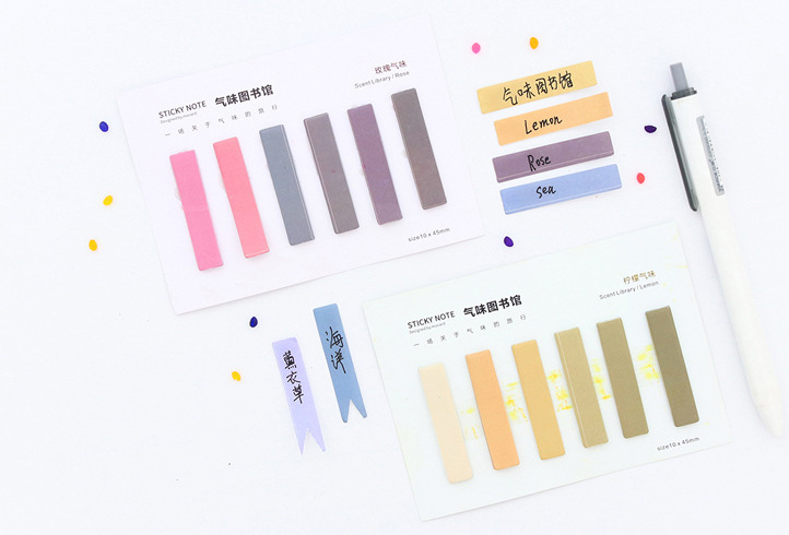 Creative Scent Library Self-Adhesive Memo Pad Sticky Notes Post It Bookmark Office Supplies Papelaria