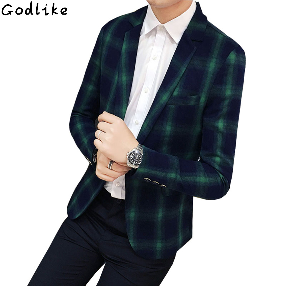 Men's Spring New Arrival Fashion Plaid Blazer 2018 Slim Fit Single Buckle British Style Suit Jacket For Male Coats Asian Size