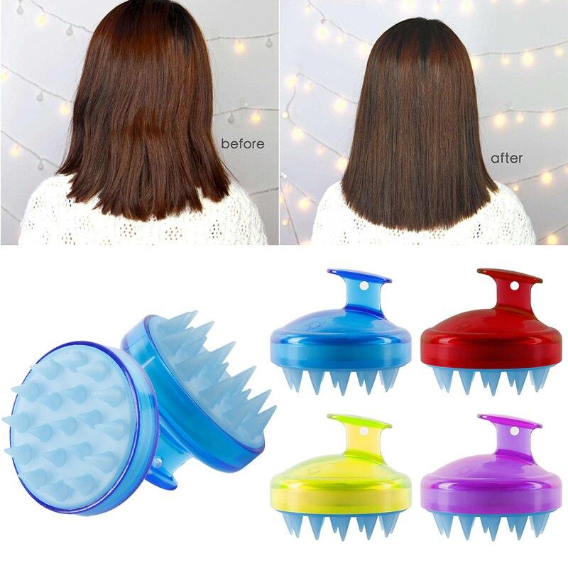 Escova de massagem de couro cabeludo, escova de silicone macia para massagem e crescimento de cabelos, pente com borda