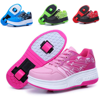 Kids Baby Girls Boys Auto Dual Wheel Roller Shoes Skates Sneakers Lace Up Flats
