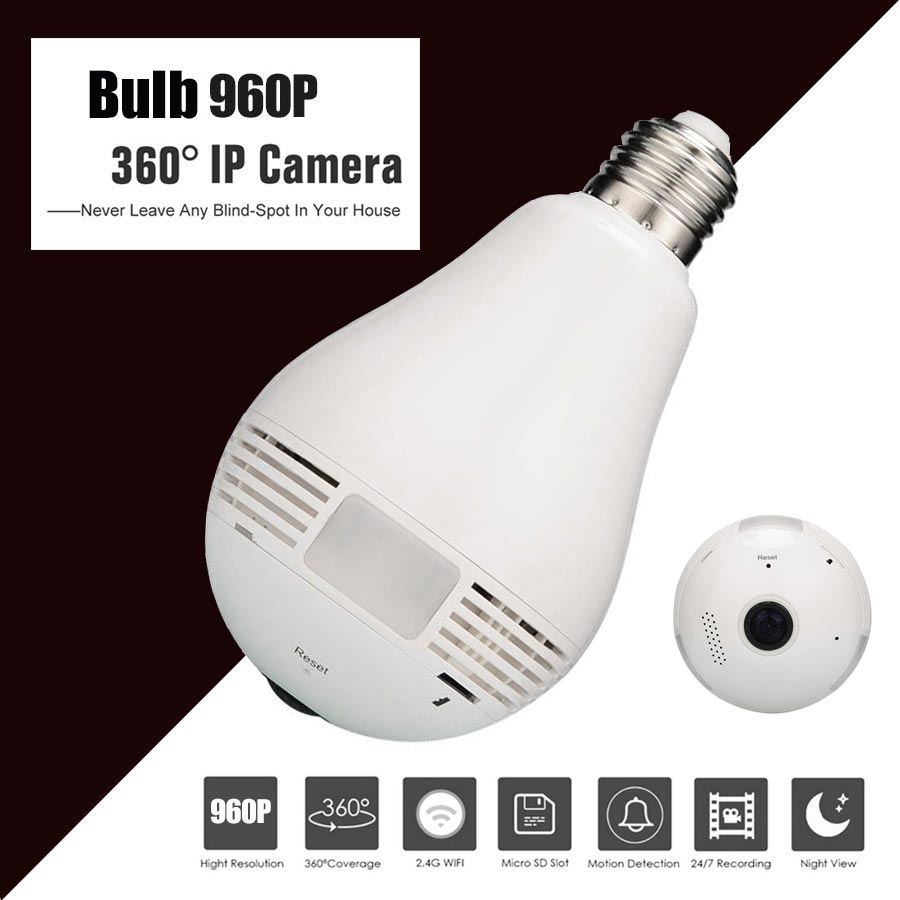 1.3MP Bulb Light Wireless IP Camera Panoramic Wi-Fi Lamp FishEye WIFI Camera 360 Degree Mini CCTV Home Security Mini P2P Camara new hd 3mp led bulb light wireless camera fisheye panoramic wifi network ip home security camera system for ios android p2p