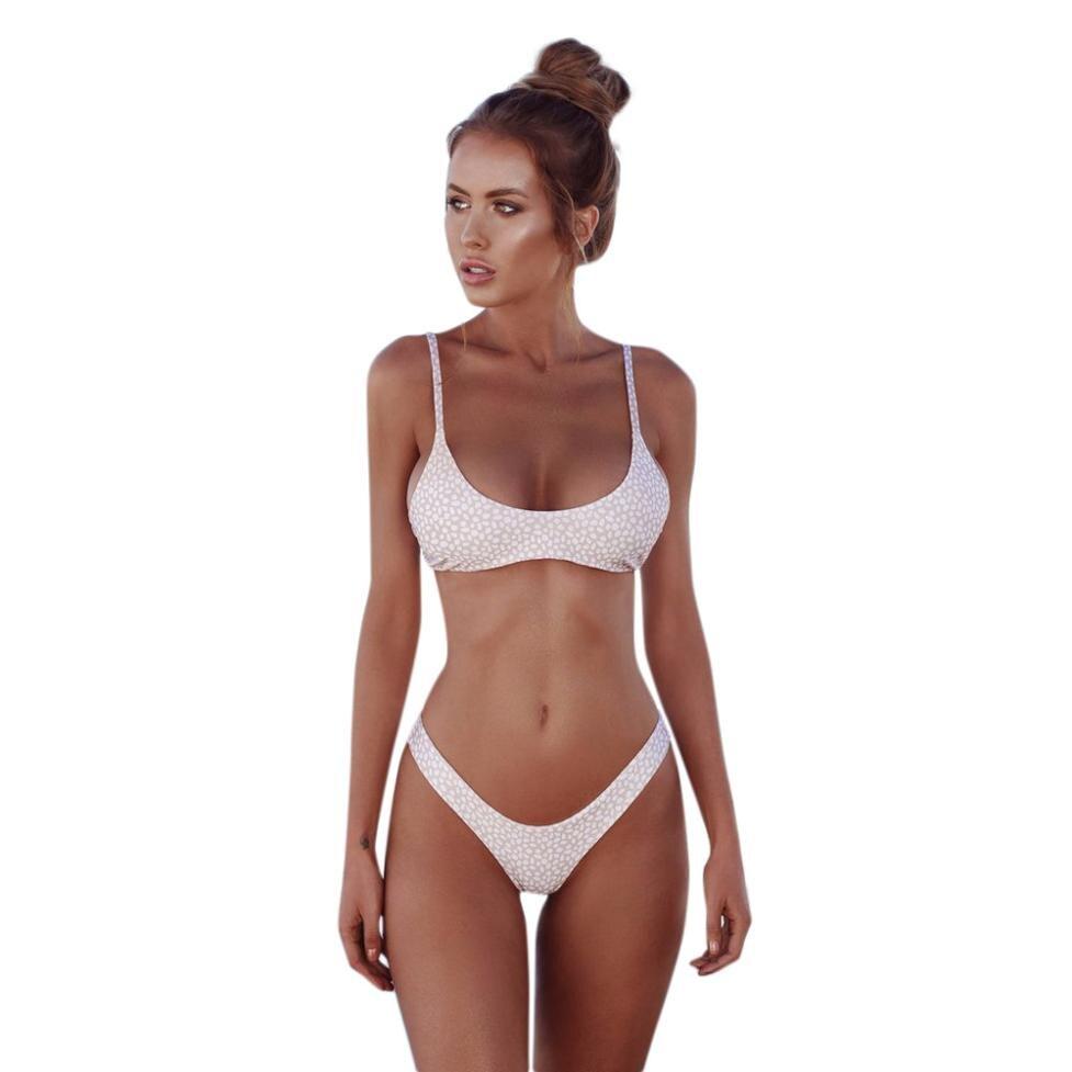 Ladies Bikini Curved Halter Strap Wave Print Swimsuit Set Summer print two-piece beach swimwear new split swimwear Y-NEW