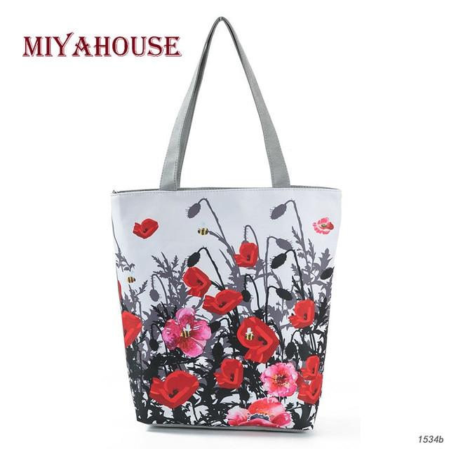 Miyahouse Summer Fresh Poppy Flowers Printing Handbags For Women Female Colorful Canvas Beach Bags Las Fashion