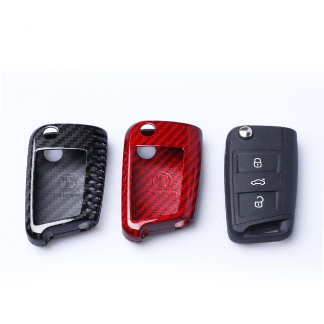 Dee Carbon Fiber Car Key Cover Shell For Vw Golf 7 Mk7 Skoda Octavia