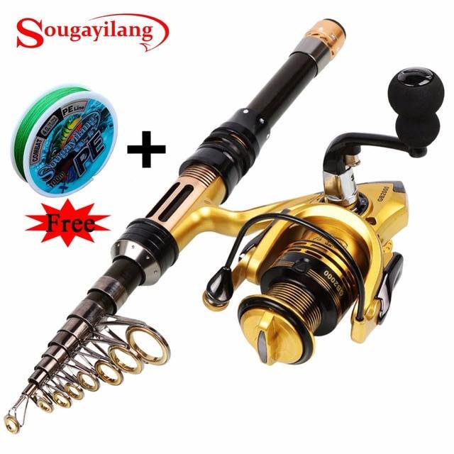 Sougayilang 1.3-2.4M Telescopic Carbon Fishing Rod and Fishing Reel Mini Spinning Fishing Rod Combos Free Braided Fishing line