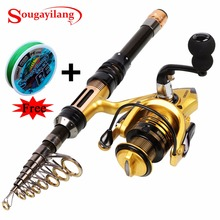 Cheaper Sougayilang 1.3-2.4M Telescopic Carbon Fishing Rod and Fishing Reel Mini Spinning Fishing Rod Combos Free Braided Fishing line