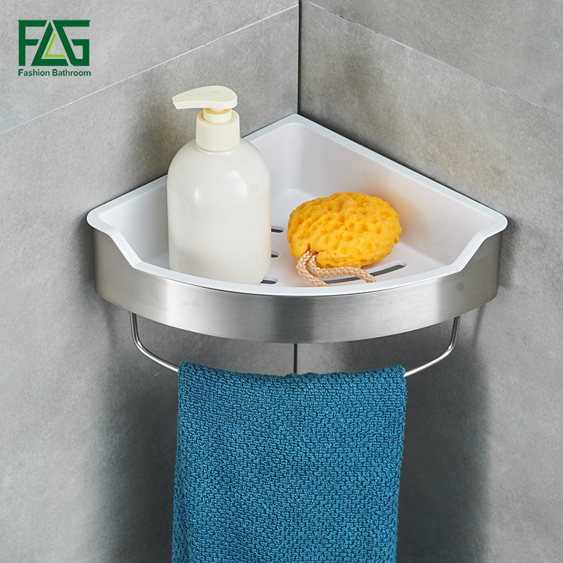 FLG Bathroom Shelves Stainless Steel Bathroom Shelf Bath Shampoo Tri-angle Basket Wall Mounted Soap Bathroom Accessories