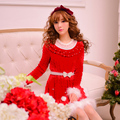 Princess sweet lolita dress Candy rain winter Christmas Japanese style princess lace pearl red Knitted dress C15CD5610 no belt