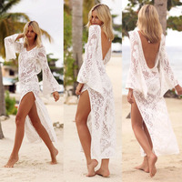 Beach Tunics Bikini Cover Up Dress Beachwear For Women Ups Tunic Cape On Swimsuit New Dresses 2019 Acetate Solid Beach Wear