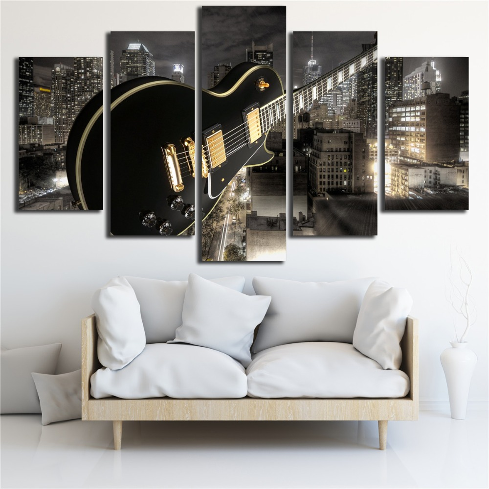 Embelish 5 Pieces HD Print Canvas Painting For Living Room Guitar And City Buildings Wall Art Modular Pictures Home Decor Poster