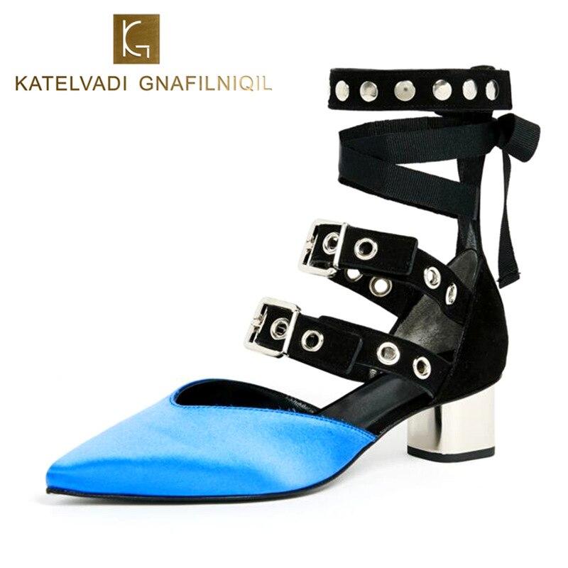 Blue Satin Gladiator Shoes Woman Square Med Heels Lace Up Women Shoes Heels Woman Autumn Casual Shoes For Women Pumps K-186 декор blau fifth avenue dec tyffanny a 25x75
