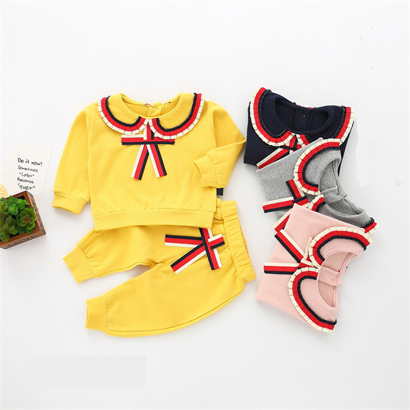 Girls Sets kids clothing Suit 2018 New Korean Fashion Tracksuit For Girl Child Navy Style Two-piece Teenage School Spring Wear