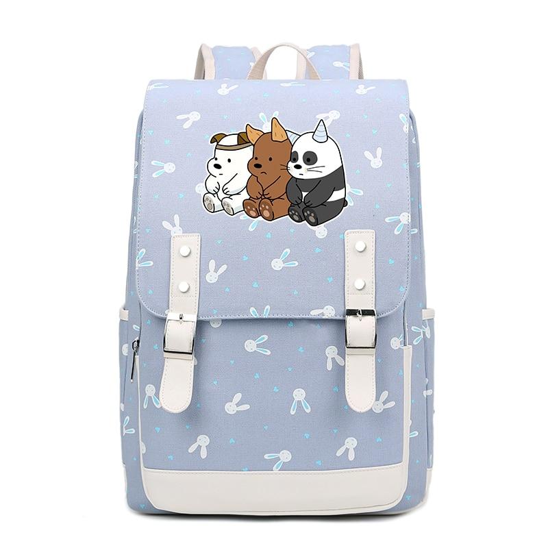 We bare bears big capacity backpack canvas bags student Bags Grizzly Panda Ice Bear backpack shoulder bag kawaii girls FT блокнот printio we bare bears