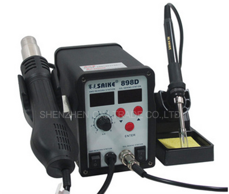 Free Shipping SAIKE 898D SMD IRON Hot Air Gun 2in1 Rework Soldering Desoldering Station 110V or 220V Saike 898D Hot Air station saike 8586d 2 in 1 hot air soldering station desoldering smd rework station hot gun soldering iron 220v 700w