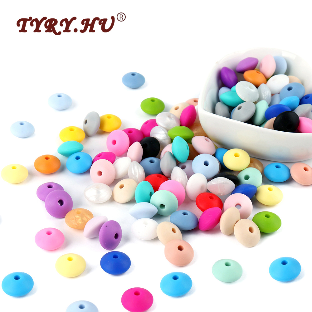 TYRY.HU BPA Free 100Pcs 12mm Silicone Lentil Beads For Pacifier Chain Making Baby Teething Abacus Beads Natural Baby Teethers