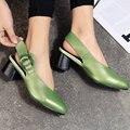 Aiweiyi bombas moda dedo do pé redondo de couro genuíno das mulheres cinta fivela grossos sapatos de salto alto mulher slingbacks bombas pretas sapatos
