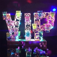 Rechargeable Luminous Light Up VIP Shaped LED Cocktail Tray Wine Glass Cup Holder for bar Disco Party Decorations supplies