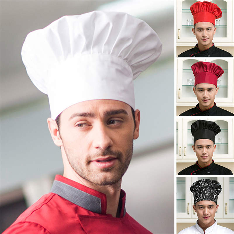 Men Adjustable Stretch Professional Chef Cap Kitchen Cook Catering Baker Mushroom Hat