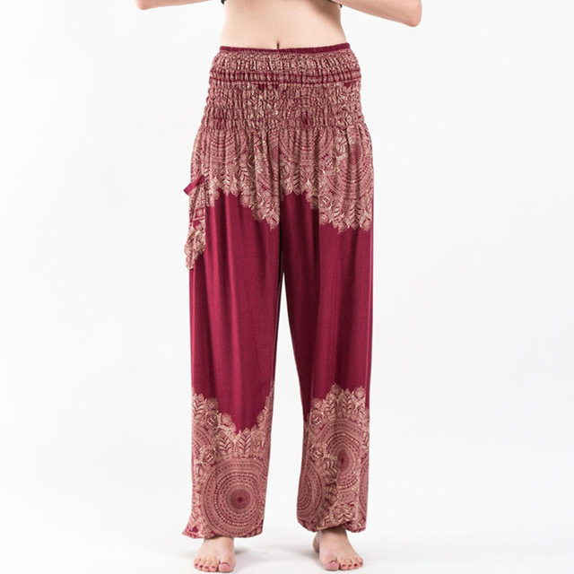 43728170ea New Women Boho Lantern Pants Comfy Indie Folk Harem Pants Baggy Hippie  Elastic Waist Female Loose