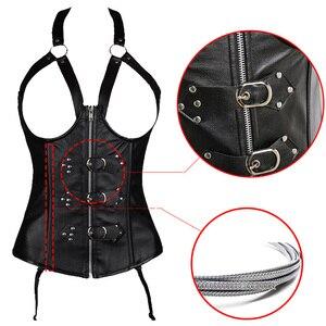 Image 3 - Corsé de cuero para mujer, corsé sexi de entrenamiento de cintura bajo el pecho 10 corsés de acero, corsé con corsé Steampunk, lencería, traje de talla grande